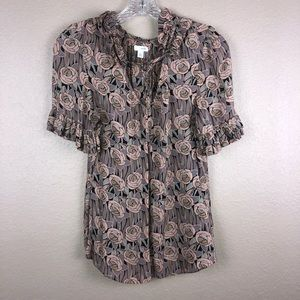 Anthropologie Odille Pink Floral Sz 8 Top Blouse